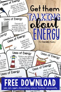 Teachers will love hearing and grade students talk about their thoughts using these Forms of Energy task cards. Use this activity in stations or as a fun whole class game. And you can get this Types of Energy activity for nothing because it is a FREEBIE! Science Vocabulary, Science Curriculum, Science Classroom, Science Lessons, Teaching Science, Science Education, Vocabulary In Context, Science Standards, Teaching Resources