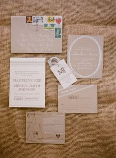 Oh So Beautiful Paper: Madeline + Josh's Rustic Kraft Paper Tennessee Wedding Invitations