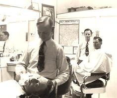 """""""Here is a 1940 photo of my dad's Brownwood Barbershop. He is Britt Towery, Sr working the last chair and his brother Dick Towery is working first chair. Later Dick has his own shop across Fisk Avenue from the Brownwood Hotel. Cool Haircuts, Haircuts For Men, Brownwood Texas, Old Photos, Vintage Photos, Barber Shop Haircuts, Grand Prairie, Texas History, Dapper Men"""