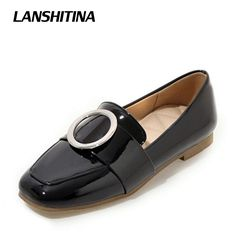 Womans Flats Shoes Loafers Soft Casual Big Buckle Shoes Women Flats Fashion Quality Simple Style Shoes Black White Beige G1140