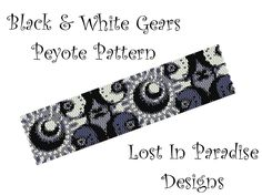Peyote Bracelet Pattern - Black and White Gears - Peyote Stitch Pattern (Buy any 2 and get one Free). $6.50, via Etsy.