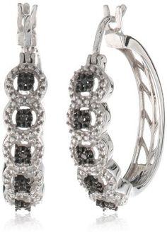 Sterling Silver Black Diamond Accent Hoop Earrings (0.05 cttw)