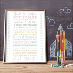 "Cadeau pour la maitresse : un joli poster ""guide du parfait petit écolier"". Office Supplies, Guide, Parfait, Primary Classroom, End Of School Year, Wall Stickers, Hobby Lobby Bedroom, Event Posters, Stationery"