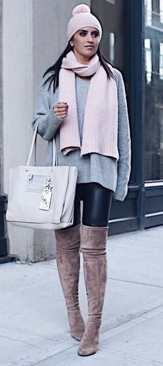 winter casual outfit / hat + scarf + sweater + bag + skinnies + over knee boots