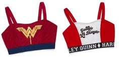 Wonder Woman And Harley Quinn Caged-Back Sports Bras