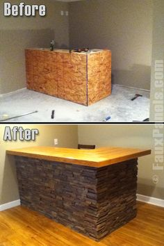 Faux Stone Panels Make It Easy To Create Your Own Home Bar As This Before Basement Kitchenbasement Barsbasement Ideasbasement