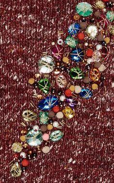 Wool, Alpaca, and Silk Jeweled Sweater by Stella Jean Now Available on Moda Operandi
