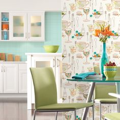 York Wallcoverings Bistro 750 Collection - Graphic Tableware Wallpaper