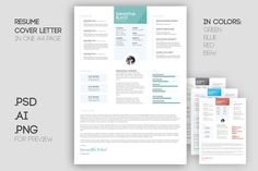 Resume template and cover letter by Knofl store on @creativemarket