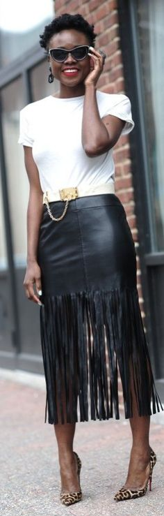 FASHION FIX: Fringe! Ditch your basic pencil skirt this fall and opt for a black leather skirt with fringe!