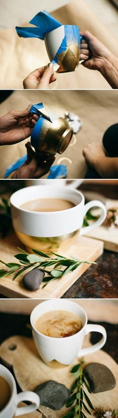 best of the web: 7 cawfee mug DIYs. Gold Spray-Painted Mugs: Because GOLD. (Note: This particular DIY is not dish-washer safe so make sure you wash by hand. ) Get the how-to via @heathergbeerman