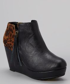 Take a look at this Black Balbina Wedge Boot by Yellow Box Shoes on #zulily today!