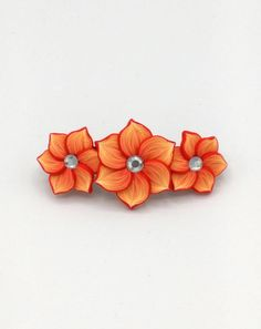 Three Orange Flowers Barrette 3 Inches; Spring Blossom; Floral Hair Accessory Fashion; Style No: ORF03 by EmilyMah on Etsy