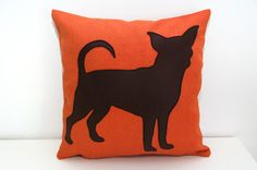 Chihuahua cushion covers  tangerine and dark by ItsTimeToDream, €30.00