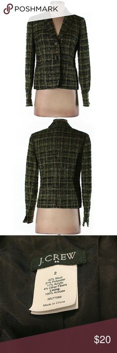 """J. Crew Tweed Blazer Jacket J. Crew Tweed jacket blazer. Excellent condition. 34"""" chest, 23"""" long, fully lined. All pictures are of the actual item that you will receive. No signs of damage or wear. Only worn a couple of times. Tweed texture free of any snags or pulls. Comes from a smoke-free pet free home. J. Crew Jackets & Coats Blazers"""
