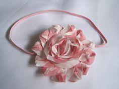 Pink and White Baby Headband Baby Girl Headbands by BirdyBows, $6.00