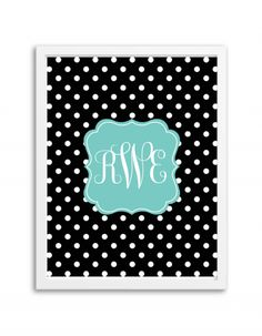 free-printable-monogram-maker-polka-dot-black-aqua-2