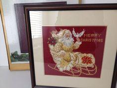 "Framed Christmas Needlepoint Dillards Trimmings Santa Sleigh Red 15x15"" | eBay"