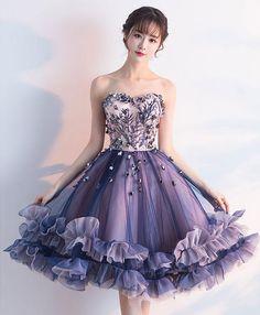 Purple sweetheart neck tulle lace applique short prom dress