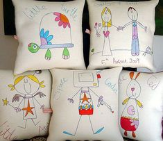 Would love to get around to getting my kids to design some cushion covers! Mothers Day Crafts For Kids, Diy For Kids, Cadeau Parents, Embroidered Cushions, Sewing Pillows, Vintage Roses, Cushion Covers, Sewing Projects, Applique