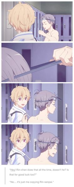 Free! ES ~~ Aiichiro and Nagisa have a conversation about jinxes and barely hidden affection. Awwe!