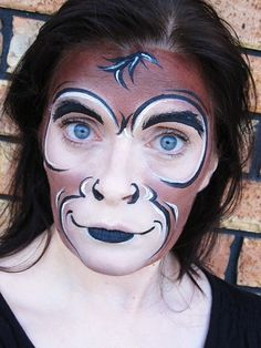 All information about Monkey Makeup. Pictures of Monkey Makeup and many more. Animal Face Paintings, Animal Faces, Maquillage Halloween, Halloween Makeup, Halloween Eve, Face Painting Designs, Body Painting, Monkey Makeup, Monkey Face Paint