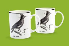Crested-lark porcelain cups do double duty as decor when arranged on shelves. From @HM