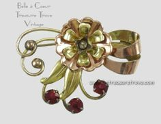 Vintage Harry Iskin Rose Gold Red Stones Floral Brooch $35.00