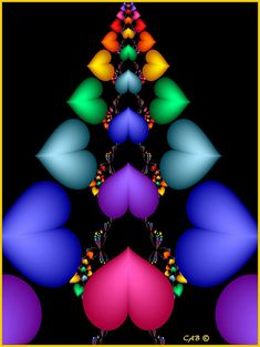 Fractal Hearts of different colors.