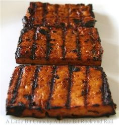 A Little Bit Crunchy A Little Bit Rock and Roll: Beer Barbecued Tofu. A Little Bit Crunchy A Little Bit Rock and Roll: Beer Barbecued Tofu. Vegan Foods, Vegan Vegetarian, Vegetarian Recipes, Vegetarian Grilling, Healthy Grilling, Veggie Recipes, Whole Food Recipes, Cooking Recipes, Grilled Tofu Recipes