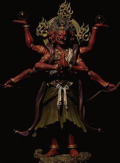 chill'n@thedojo : Photo Indra And Ashura, Asura's Wrath, Angry Tiger, Character Art, Character Design, Baphomet, Japanese Mythology, Gautama Buddha, Buddha Art