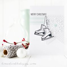 Created by Debby Hughes using Simon Says Stamp Cold Hands, Warm Heart release - Christmas, card, winter, skate, ice, snow October 2014