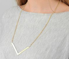 Gold Chevron Necklace  Gold Long Necklace Everyday by HLcollection