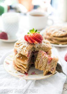 Fluffy #Vegan Strawberry White Chocolate Pancakes- Easy, Kid-friendly and SO tasty! #lovemysilk