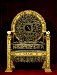 Napoleon's Throne...Napoleon's style was a throwback to the classicism of Rome and Greece and a negation of the Rococo style and all the corruption that was associated with it.