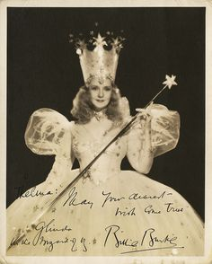 Autographed photo of Billie Burke as Glinda, the good witch in The Wizard of Oz. the B&W image shows the dress and crown details very well! Wizard Of Oz Movie, Wizard Of Oz 1939, I Movie, Movie Stars, Classic Hollywood, Old Hollywood, Hollywood Pictures, Hollywood Glamour, Original Wizard Of Oz