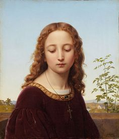 :: Ernst Deger (1809-1885), Portrait of a Young Woman, 1853 ::