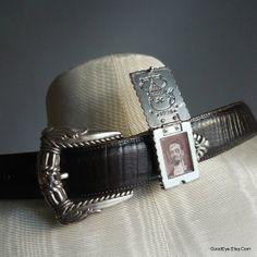 Vintage LOCKET Leather Belt BRIGHTON Waist 28 to 32 by GoodEye, $38.00
