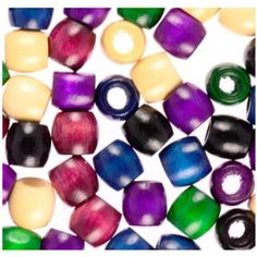Wood Pony Beads, 11x12mm, Fashion Color Mix, 110pc Pkg $5.39
