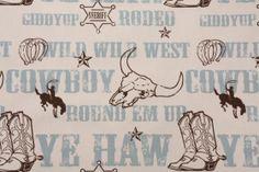 Drapes in little boys room. Premier Prints Cowboy Printed Cotton Drapery Fabric in Village Blue/ Natural. FabricGuru.com