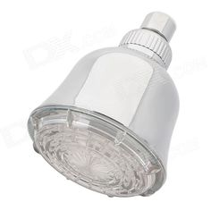 Shending LD8010-A3 Three Colors Light Changing 15-LED Round Shaped Rainfall Shower Head - Silver