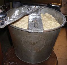 This universal bread maker by Landers, Frary & Clark makes it easy to 'crank out' big batches of bread.