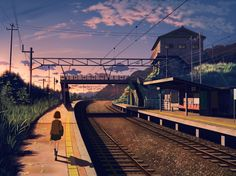 Anime Train Station Scenery wallpaper