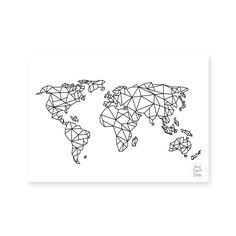 World map white art print arts drawings pictures pinterest geometric world map gumiabroncs Choice Image