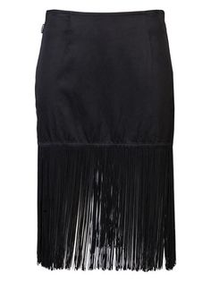 Fringe skirt in black from Moschino Jeans Vintage This short straight skirt features a concealed side zip closure and long fringe detail at the hem Going Out Skirts, Flapper Party, Types Of Skirts, Fringe Skirt, Cool Style, My Style, Summer Skirts, Star Fashion, Moschino