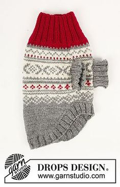 Dog's knitted sweater with multi-coloured Nordic pattern. Sizes XS - M. The piece is worked in DROPS Merino Extra Fine.