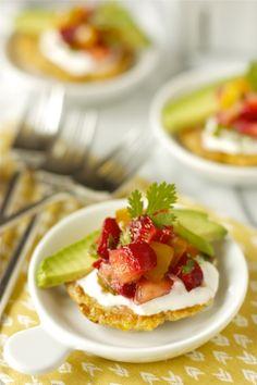 Corn Cakes wth Strawberry-Tomato Salsa   daisysworld.net