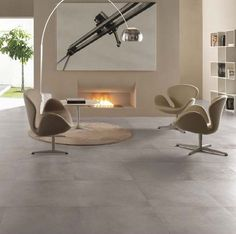 Keramische tegels van natuursteen. Het heeft een zachte uitstraling en het is esthetisch schoon te houden.