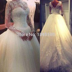 Günstige Vintage High Neck Lace Long Sleeves Ballkleid Brautkleider 2016 muslimischen Kleid brautkleid Nach maß vestidos de noivas longo, Kaufe Qualität Hochzeit Kleider direkt vom China-Lieferanten:                                                      &