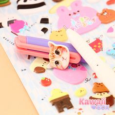 Moggie Doggie Pens from December box are decorated with cute cats and dogs ► http://www.kawaiibox.com/kawaii-box-december-2015/